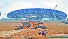 俄罗斯世界杯现豆腐渣工程!一场大雨致160亿体育场塌陷
